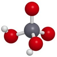 Chromic acid (H2CrO4) molecule, chemical structure. Chromic acid is a highly corrosive oxidising agent and contains the highly toxic and carcinogenic hexavalent chromium