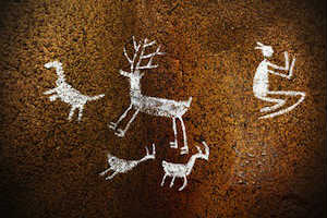 Paleolithic era cave drawings