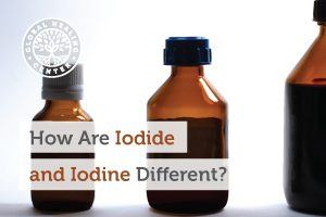A bottle of Iodide and iodine. Iodine is a naturally occurring element and iodide occurs when a new element links with iodine.