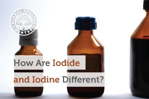 A bottle of Iodide and iodine. Iodine is a naturally-occurring element and iodide occurs when a new element links with iodine.