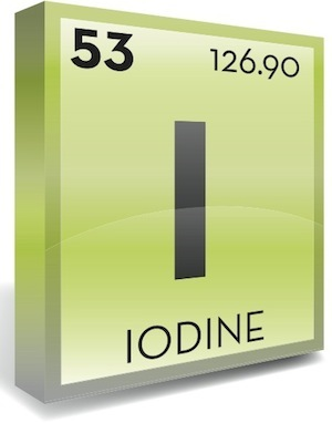 Periodic table of elements symbol for Iodine