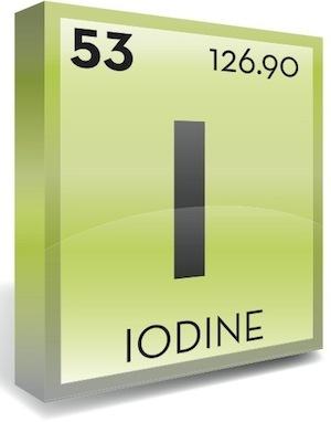 Periodic table of elements symbol for Iodine
