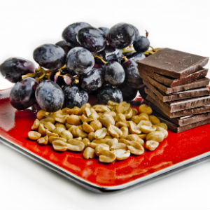grapes-chocolate-peanuts-resveratrol-foods