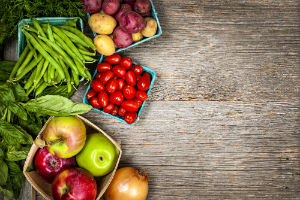 produce-on-wooden-background