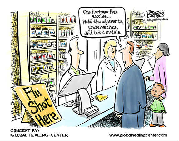Cartoon illustrating the irony of vaccinations