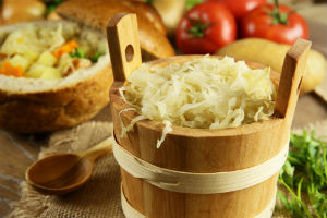 Image of fermented foods rich in probiotics that are considered great for supporting normal gut health.