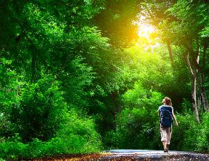 woman on walking trail