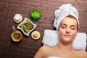 Woman enjoying natural skin care