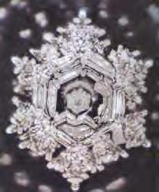 A structured water molecule of Fujiwara Dam after an offering of prayer. From 'The Message From Water' by Masaru Emoto.