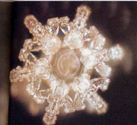 A structured water molecule of spring water of Sanbu Ichi Yusui, Japan. From 'The Message From Water' by Masaru Emoto.