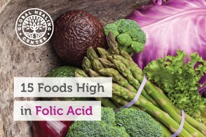 Asparagus, broccoli, avocado, cauliflower, and beets piled together. These organic leafy greens are high in folic acid.