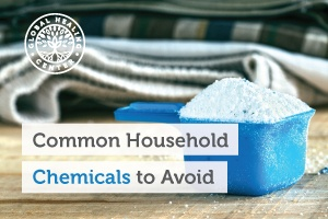 A full cup of laundry detergent. The two most common hazardous household chemicals are laundry and dishwasher detergent.
