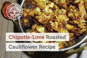 Bowl of Chipotle-lime Roasted Cauliflower, a vegan cauliflower recipe rich in both potassium and vitamin C.