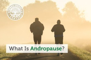 Two middle age men running. As men age, they are prone to suffer from andropause.