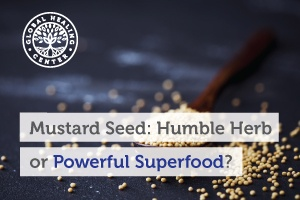 A spoon full of mustard seeds, which are considered a superfood loaded with many nutrients that support good health.