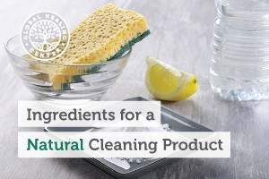 Image of a bowl of water, a lemon wedge, and baking soda. Great ingredients to make your own natural cleaning products.