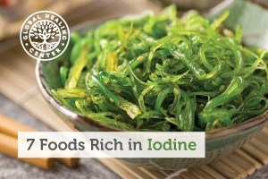 A small bowl of seaweed salad. Foods like seaweed salad are rich in iodine which helps the thyroid to function properly.
