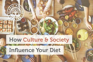 Society and culture influence healthy eating. A group of people eating a healthy meal.