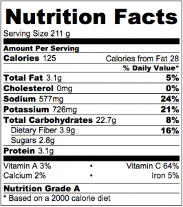 Zucchini Tater Tots Nutrition Label