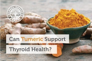 A bowl of organic turmeric powder. Turmeric also been shown to support brain health, thyroid health, and encourage a balanced mood.