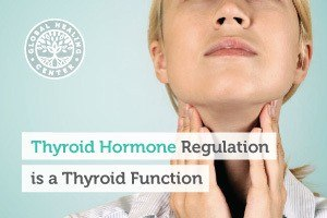 A woman checking her thyroid. The thyroid produces thyroid hormones that regulate various bodily functions.