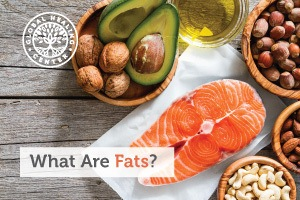 A bowl of avocados and nuts next to a raw salmon. Fats are a macronutrient present in animal and plant-derived foods.
