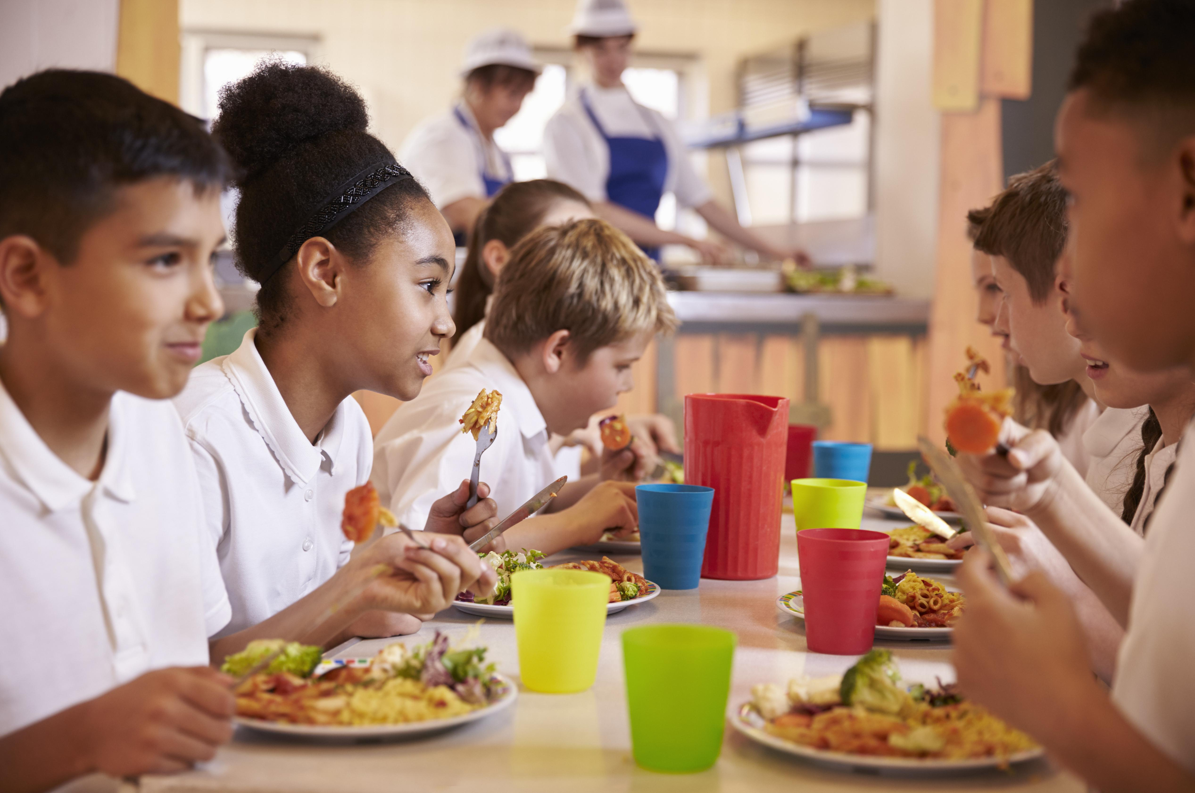 Good Eating Habits. A group of kids eating a healthy meal.