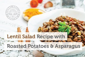 A bowl of lentil salad with roasted potatoes and asparagus. This delicious vegan-friendly recipe contains many key nutrients.