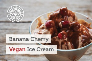 A bowl of cherry chocolate chunk vegan ice cream. This delicious vegan ice cream is packed with healthy nutrients.
