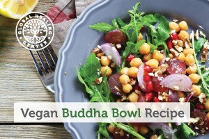 A vegan Buddha bowl. This recipe is filled with cooked and raw ingredients that provide the body with essential nutrients.