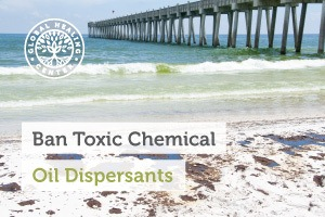 A beach polluted with oil from an oil spill. Oil dispersants are toxic to humans and the environment.