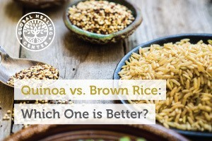 A dish full of quinoa rice. This rice is higher in overall nutrients and is now easily accessible at most grocery stores.