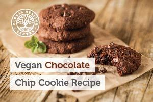 A stack of gluten-free vegan chocolate chip cookies. This recipe is a healthier option to the usual flour-based cookies.