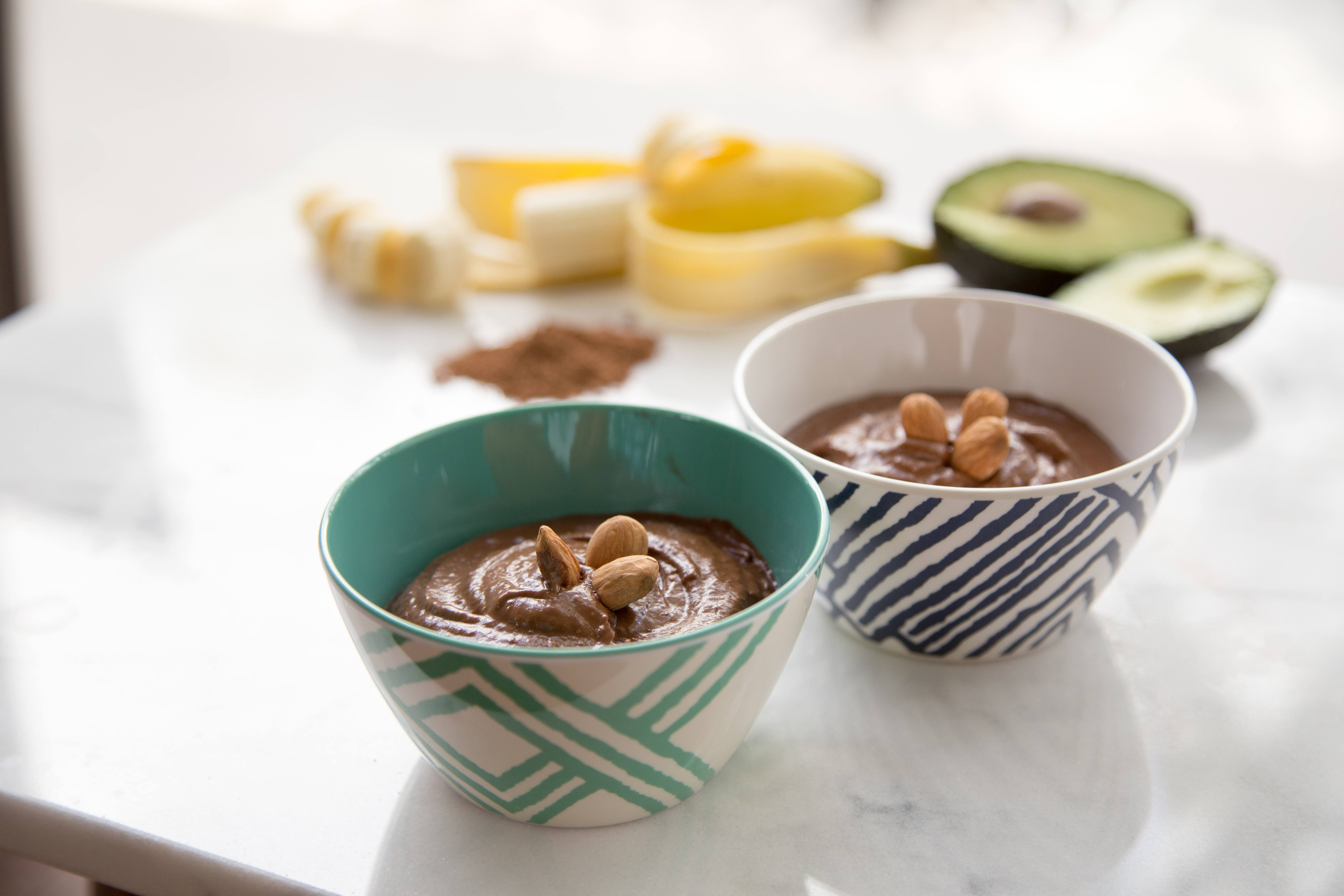 A bowl of vegan chocolate pudding. This dessert has no sugar and the ingredients used can be beneficial to your health.