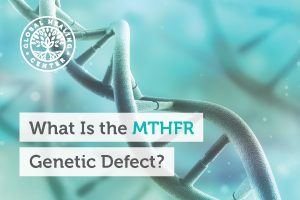 A DNA image of an MTHFR genetic defect. This gene tells the body to make an enzyme needed to convert vitamin B9 into its active form.