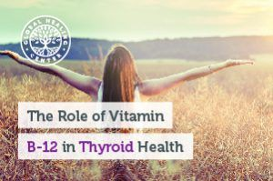 A woman is walking through a sunny field. Vitamin B-12 is one of the several nutrients that helps support thyroid health.