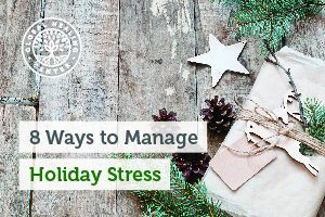 A wrapped gift. Holiday stress is an anticipated effect of this joyful holiday season.