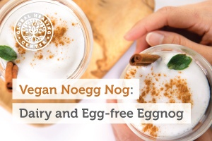 A cup of vegan Eggnog. This drink has a healthy dose of nutrients and has no cholesterol.