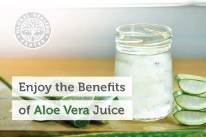 A cup of aloe vera juice. This all natural aloe vera juice helps the immune system and overall wellness.