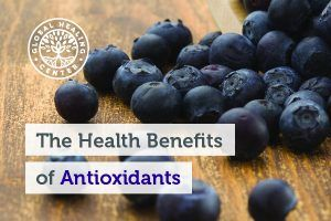 Blueberries on a table. Antioxidants are found in foods like fruits and vegetables and can also help fight free radicals.