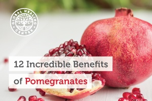 Two pomegranates on a counter. Most pomegranate benefits come from the high nutritional profile of its antioxidants.