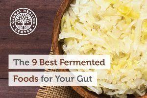 A wooden bowl of sauerkraut. Fermented foods like sauerkraut aren't the most popular food but it's great for the gut.