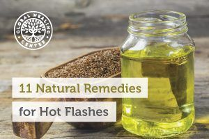 A bottle of flaxseed oil. Black cohosh, vitamin C, and flaxseed oil are one of many natural Remedies for hot flashes.