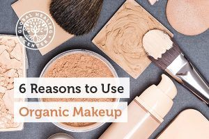 A table full of makeup. It's better to use organic makeup because it's gentle on the skin more eco-friendly.
