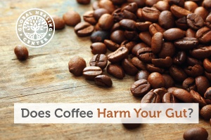 A table full of coffee beans. Coffee reduces absorption of the nutrients, which can bad for the gut.