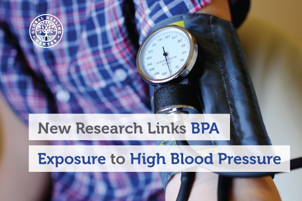 A person is checking their blood pressure. Studies show that there are links between BPA and high blood pressure.