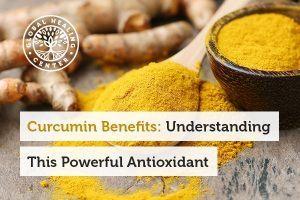A spoon full of turmeric. Curcumin benefits include antioxidant support.