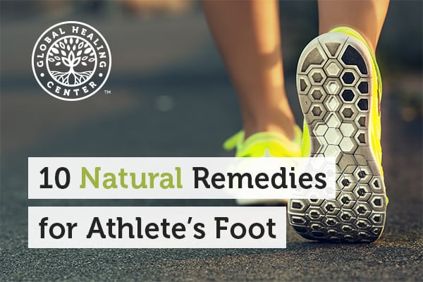 A person wearing running shoes. Athlete's foot is a fungal infection that usually thrives in warm, damp places.