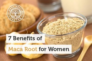 A powder form of a maca root in a glass container. Maca is considered a superfood that is beneficial for women.