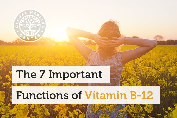 A woman is walking in a sunny field. Healthy energy and mood improvement are one of the several functions of Vitamin B-12.